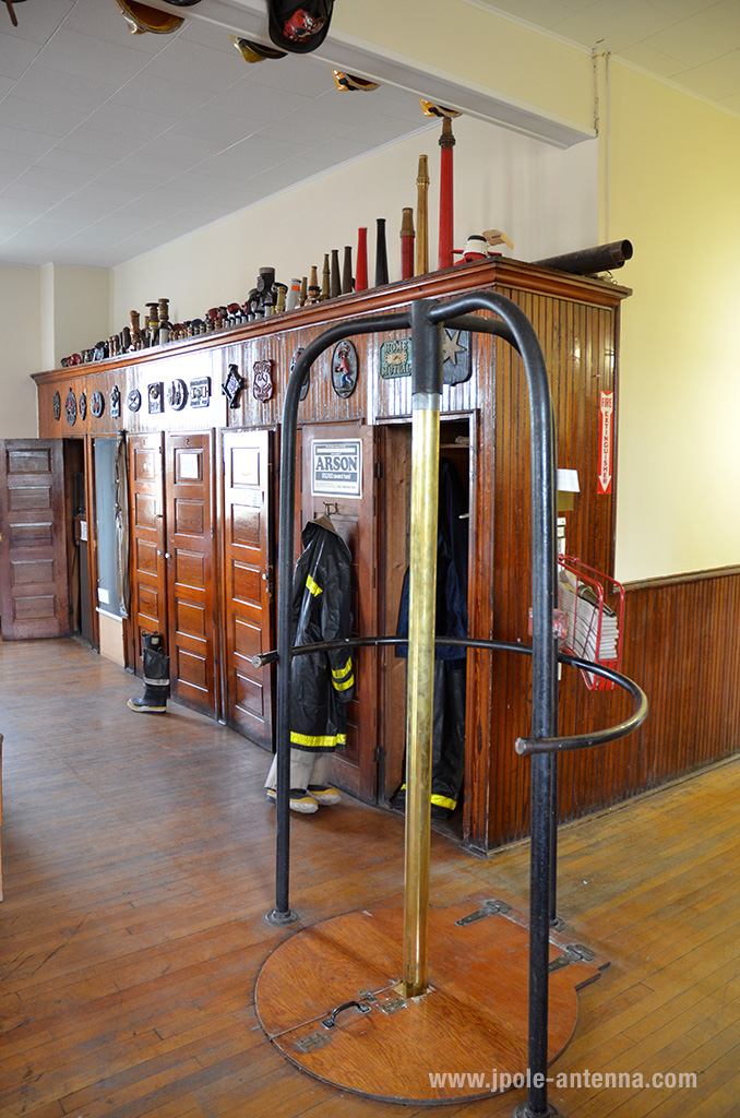 Nowadays an actual pole in a fire station is as rare as hen's teeth. But considering the steep and narrow stairs it took to get to the 2nd floor of this station, this pole would make getting downstairs much faster