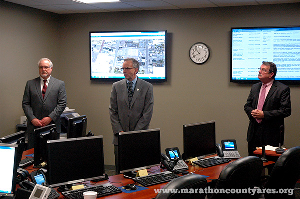 Marathon County, WI Emergency Operations Center dedication with Emergency Manager, County Administrator, and Wausau City Mayog