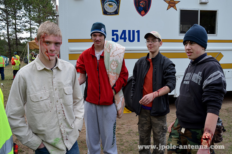 Our four 'lost victims'. Makeup was added for realism and so the Scouts could practice assessment and first aid skills